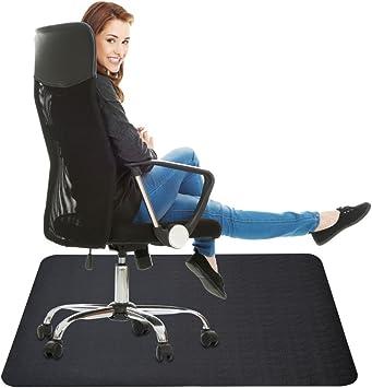 Amazon Com Office Chair Mat For Hard Floor 35x47 Inches Straight Edge Rectangular Sturdy Multi Purpose Polyethylene Eva Desk Chair Mat For Hardwood Floor Black Office Products