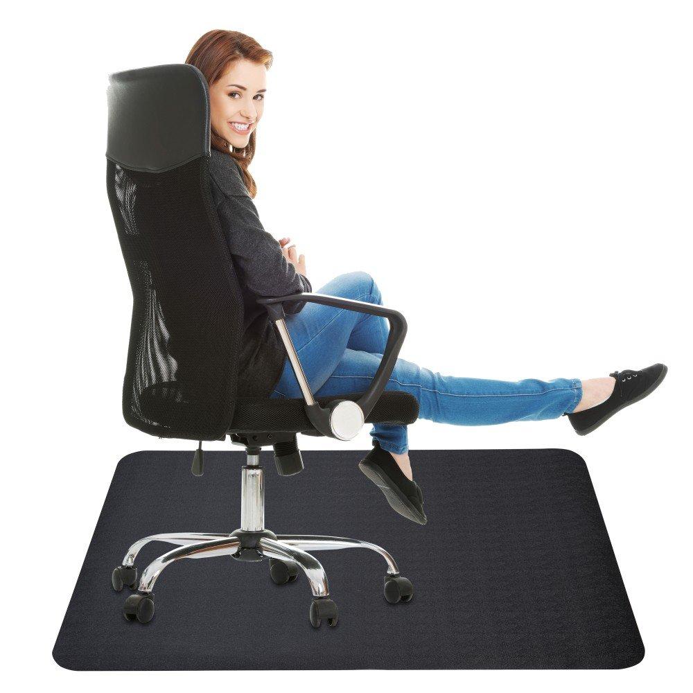 Office Chair Mat for Hard Floor : 35x47 inches Straight Edge Rectangular Sturdy Multi-Purpose Polyethylene Desk Mat for Home & Office Floor Protection - Black by Lemostaar