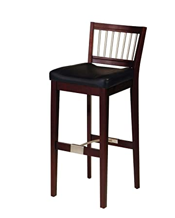 Home Style 5987-88 Bar Stool with Metal Stretcher, Cherry Finish