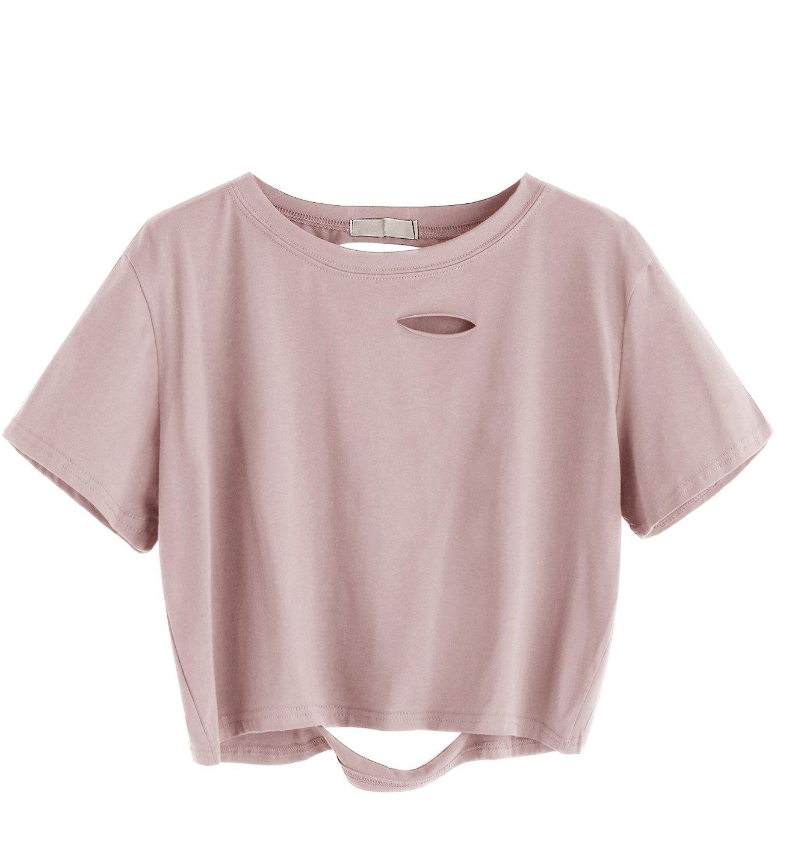SweatyRocks Women's Summer Short Sleeve Tee Distressed Ripped Crop T-shirt Tops (Small, Pink)