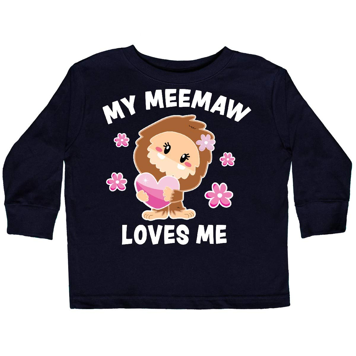 inktastic My Meemaw Loves Me with Bigfoot Toddler Long Sleeve T-Shirt