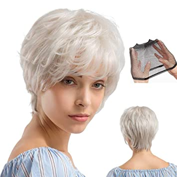 Hamkaw Natural White Short Wigs For White