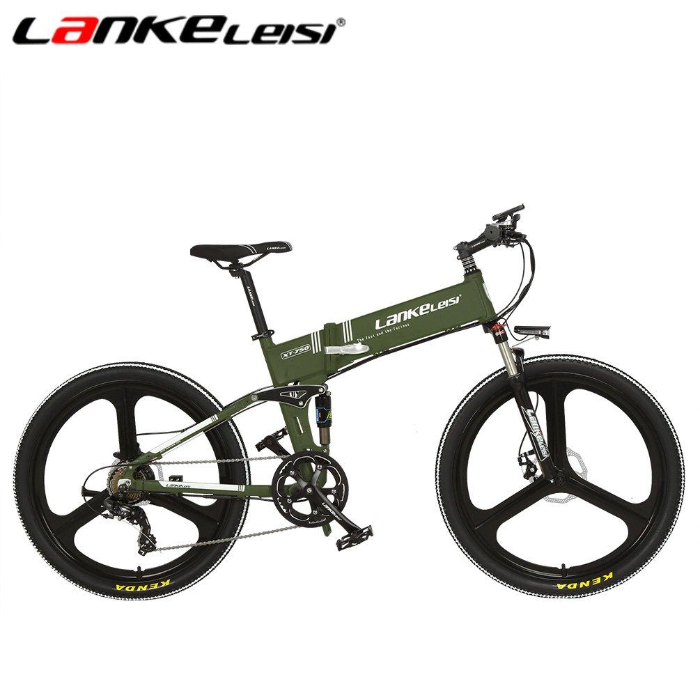 lankeleisi xt750 - 26 inch plegable para bicicleta E-BIKE eléctrica - Bicicleta de montaña de litio de 48 V Full Suspensión 7 velocidad Motor 240 W, ...