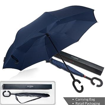 Paraguas plegable de doble capa, a prueba de viento y protección UV,