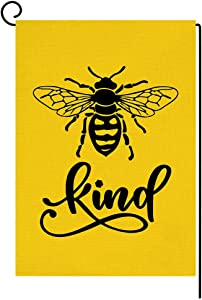 Bee Kind Yellow Garden Flag Vertical Double Sided Burlap Yard Spring Summer Outdoor Decor 12.5 x 18 Inches