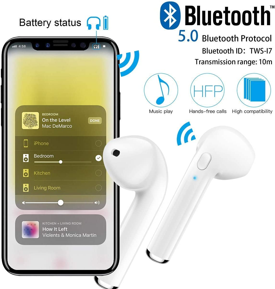 Wireless Earbuds Noise Canceling Headphones with Charging Case Built-in Mic TWS Stereo Headphones Bluetooth 5.0 in Ear Wireless Earphones White