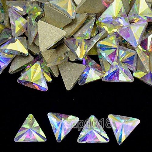 AD Beads Top Czech AB Crystal Multi-Shape Flatback Rhinestone Nail Art Decoration DIY (50 Pcs, 11. Triangle 8x8mm)