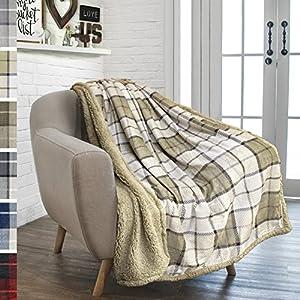 PAVILIA Premium Sherpa Throw Blanket for Couch Sofa | Soft Micro Plush Reversible Throw | Lightweight All Season Plaid Design Fleece Blanket (50 X 60) from PAVILIA
