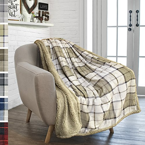 PAVILIA Premium Sherpa Throw Blanket for Couch Sofa | Soft Micro Plush Reversible Throw | Lightweight All Season Plaid Design Fleece Blanket (50 X 60 Inches Beige Latte) ()