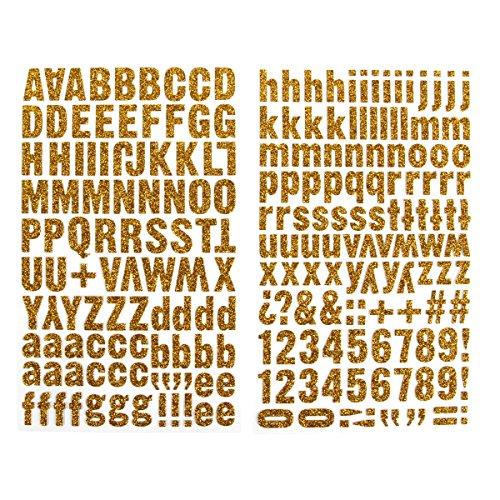 Darice 1219-37 220-Piece Glitter Alphabet Sticker, Upper and Lower Case Letters, Gold (Chipboard Glitter)