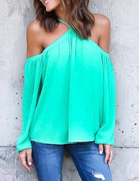 Ninimour Camiseta Clásica sin Hombro de Managa Larga para Mujer: Amazon.es: Ropa y accesorios
