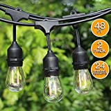 2-Pack 48Ft LED Outdoor String lights-24 Hanging Sockets,2W LED Vintage Edison Bulbs, Commercial Grade, Weatherproof, Heavy Duty Strand - Patio/Cafe/Backyard/Market Party Deck Bistro Lights