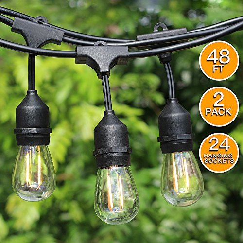 2-Pack 48Ft LED Outdoor String lights-24 Hanging Sockets,2W LED Vintage Edison Bulbs, Commercial Grade, Weatherproof, Heavy Duty Strand - Patio/Cafe/Backyard/Market Party Deck Bistro Lights by SHINE HAI