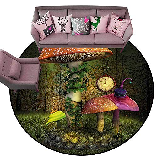 (Baby Crawling Area Mats Fantasy,Giant Mushroom and Elve Diameter 66