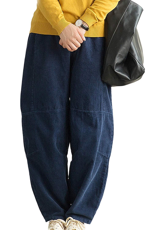 Le Donne In Pantaloni Di Vellutopalazzo Ampio Gamba Dei Pantaloni Addosso ITKRY932-Black-F