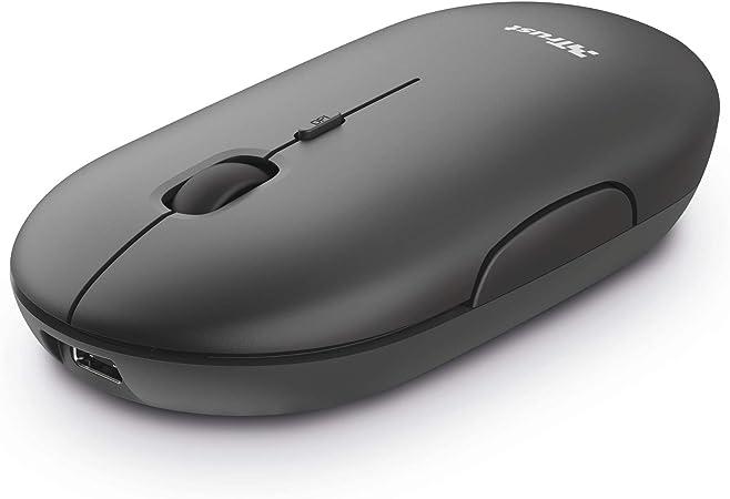 Trust Puck Ratón Inalámbrico Recargable, Bluetooth o 2.4 GHz con Microreceptor USB, PPP 800/1200/1600, Botones Silenciosos, Ergonómico, para ...