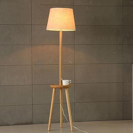 Cocoarm Illuminazione Interna Lampada da Terra in Legno piantana E27 piantana con Ripiani incorporati a 3 Livelli per Soggiorno e Studio EU 220V (Nero)
