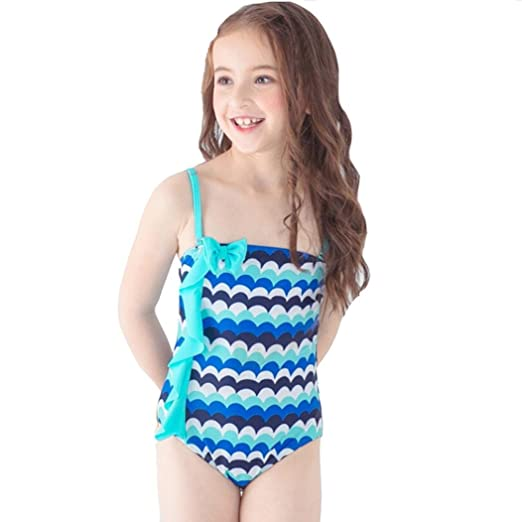 5c4d807ad01a1 TiTCool Toddler Little Girls Swimsuit One Piece Bathing Suit Skirt Cute  Wave Pattern Size 2-
