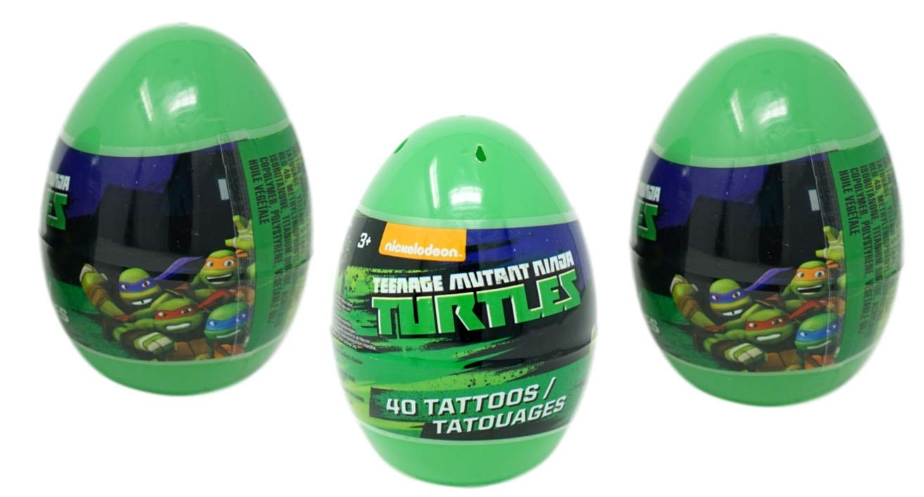 Teenage Mutant Ninja Turtles Eggs with Temporary Tattoos (3 Pack) - 40 Tattoos Each, 4.5 Inches Tall Easter Party Favors by PaperMagicGroup (Image #2)
