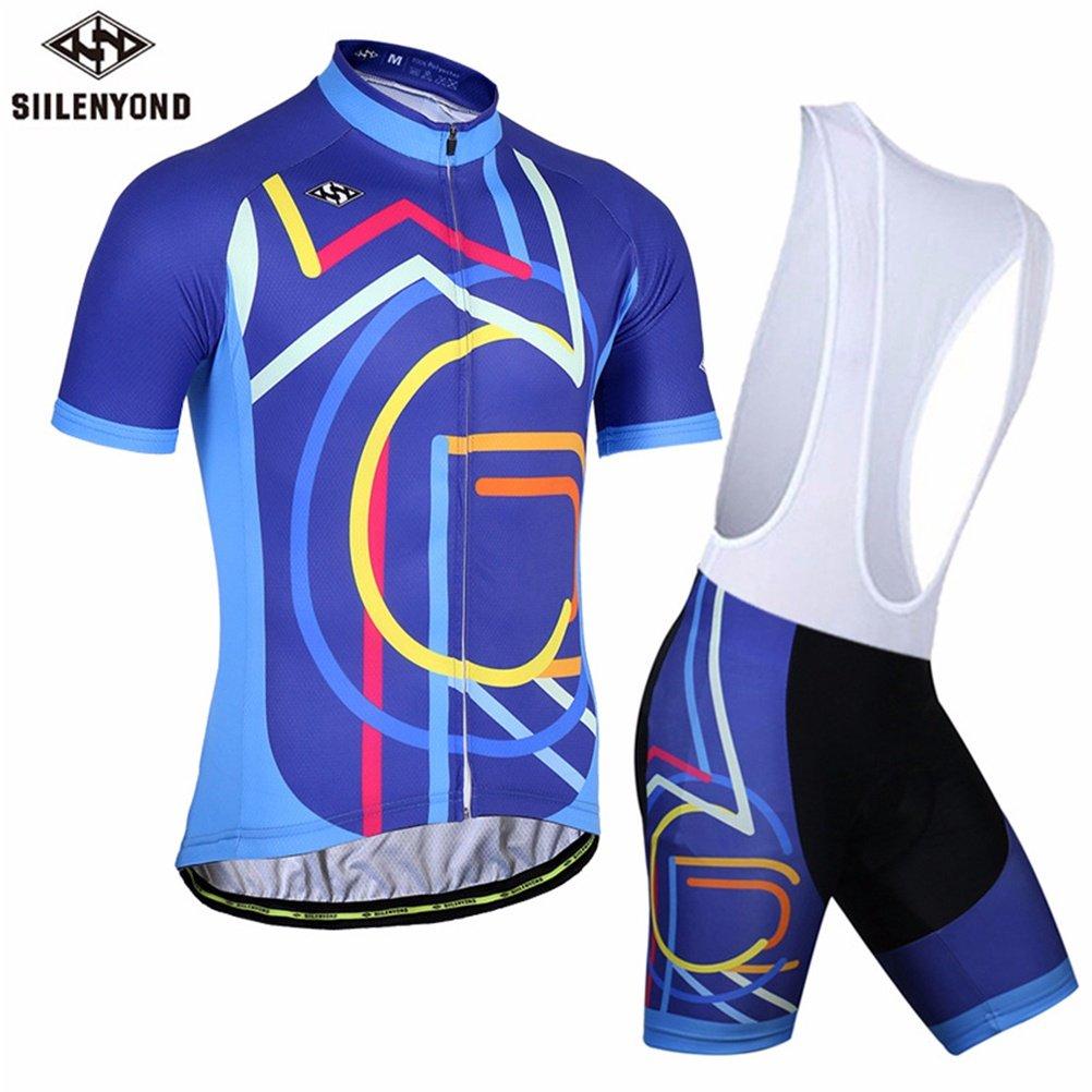 QFXO Trägerhose Herren Radtrikot Kurzarm mit Trägerhose - Breathable Sweaty   Wear Wasserdichte 3D Bike-Kissen Gepolsterte Shorts Unisex
