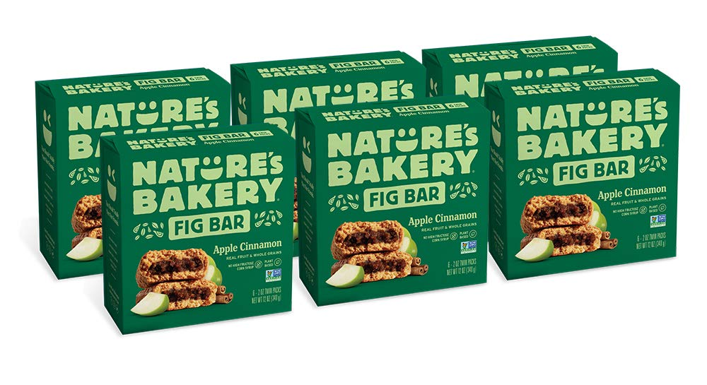 Nature's Bakery Whole Wheat Fig Bars, Apple Cinnamon, Real Fruit, Vegan, Non-GMO, Snack bar, 6 boxes with 6 twin packs (36 twin packs)