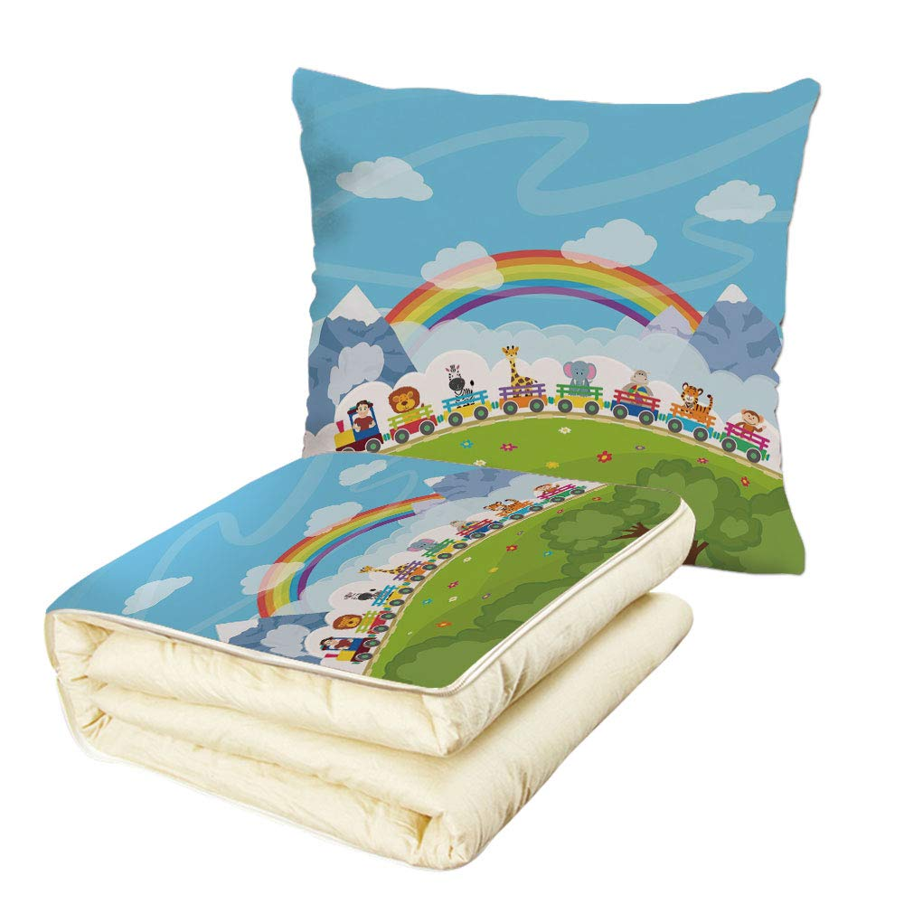 iPrint Quilt Dual-Use Pillow Nursery Cartoon Railway Train with Various Animals and a Rainbow Mountains Clouds Trees Multifunctional Air-Conditioning Quilt Multicolor