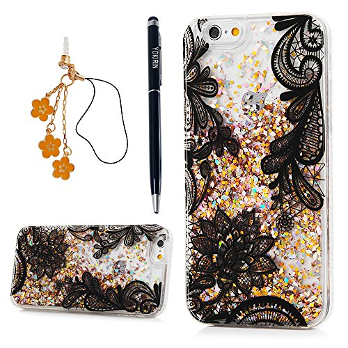 YOKIRIN iPhone 6 Case,iPhone 6S Case,Retro Court Lace Flower Pattern Texture Hard Plastic Clear Shiny Powder Shell Skin Quicksand Flowing Liquid Cover…