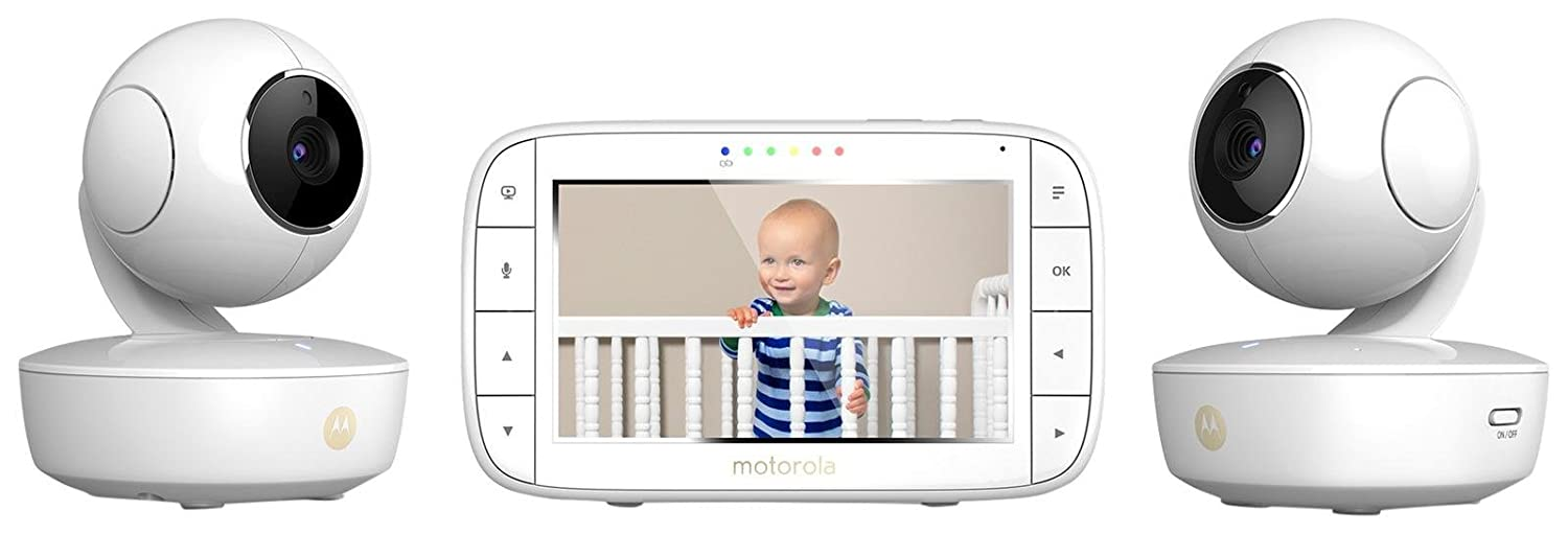Motorola MBP36XL-2 Portable Video Baby Monitor, 5-inch Color Screen, 2 Rechargeable Cameras with Remote Pan, Tilt, and Zoom, Two-Way Audio, and Room Temperature Display