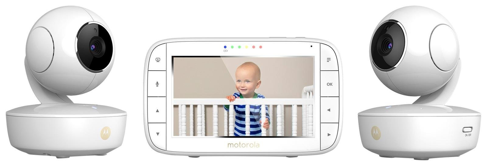 Motorola MBP36XL-2 Portable Video Baby Monitor, 5-inch Color Screen, 2 Rechargeable Cameras with Remote Pan, Tilt, and Zoom, Two-Way Audio, and Room Temperature Display by Motorola Baby (Image #1)