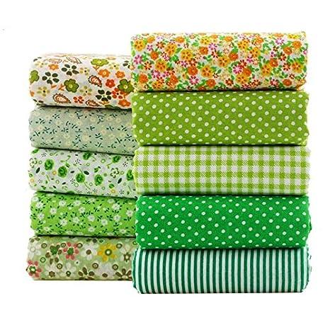 10 Telas diseños verdes para cojines y textil cocina, colchas, toallas, banderines,