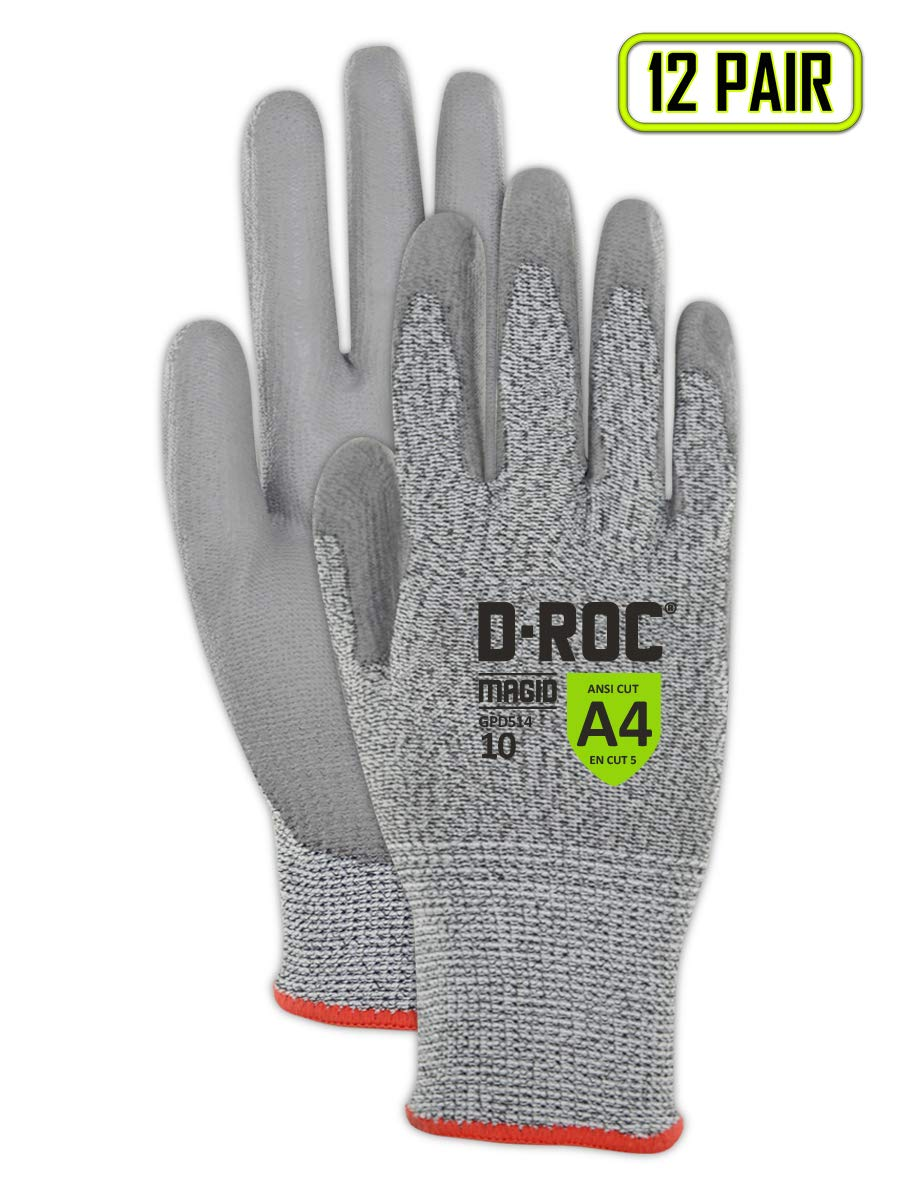 Magid Glove & Safety D-ROC GPD514 Blended Polyurethane Palm Coated Work Gloves - Cut Level A4, Black