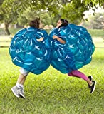 Set of 2 Blue BBOP Buddy Bumper Ball Inflatable Blow Up Giant Wearable Body Bubble Zorb Soccer Suit Heavy Duty Durable PVC Vinyl Kids Adults Physical Outdoor Active Play 36 Inches Diam