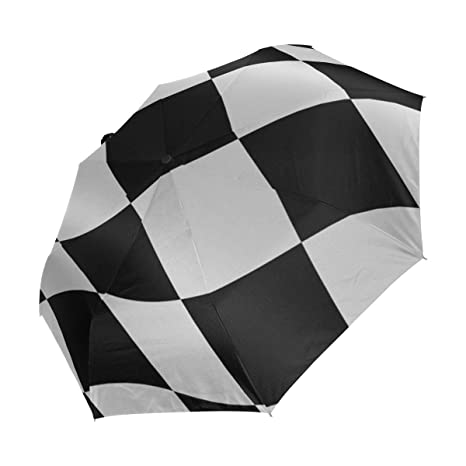 612d2f556 Image Unavailable. Image not available for. Color: XiangHeFu Umbrella Black  White Checkered Flag Auto Open Close 3 Folds Lightweight Anti-UV