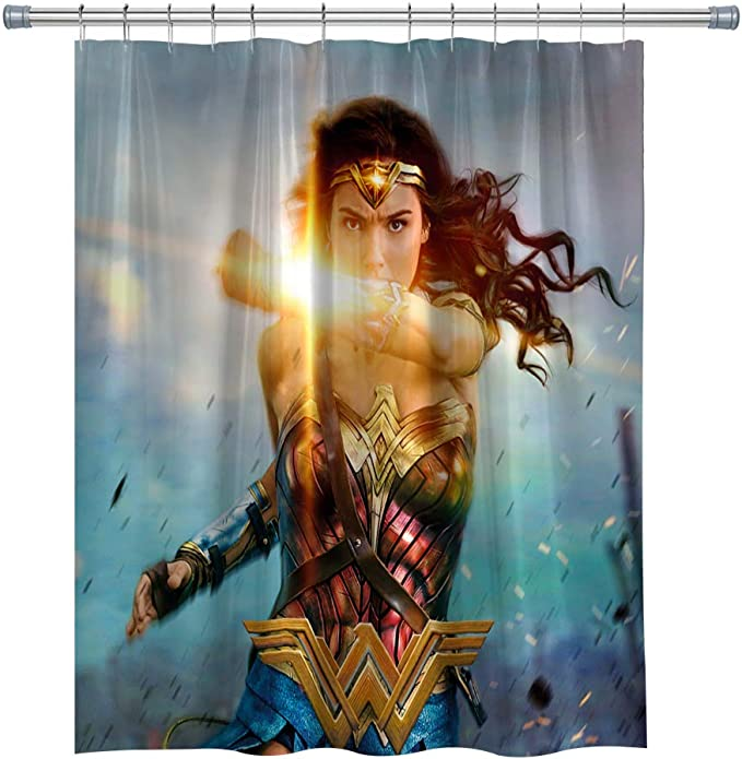 Hero Shower Curtains Waterproof Polyester Shower Curtain For Bathroom Wonder Woman Decor Shower Curtain Set With Hooks 71x 71 In Home Kitchen Amazon Com
