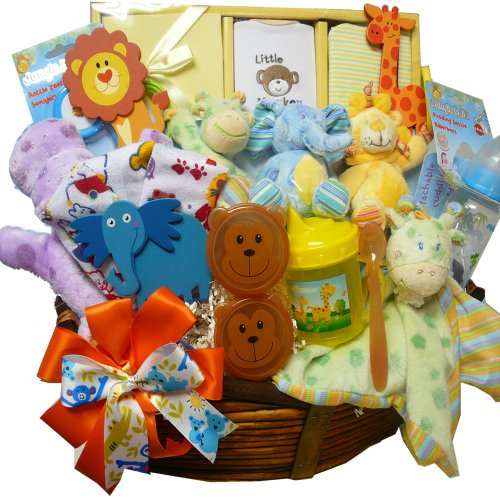 Art of Appreciation Gift Baskets Jungle Buddies New Baby Gift Basket, Neutral Boy or Girl