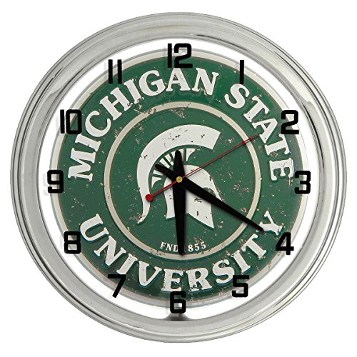 - Michigan State University Spartans White Neon clock from Redeye Laserworks