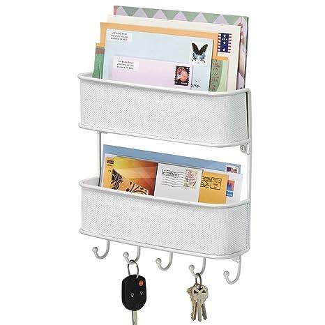 mDesign Organizador de llaves con ganchos – Colgador de llaves de metal con detalles de plástico trenzado – Organizador de cartas con dos bandejas – ...