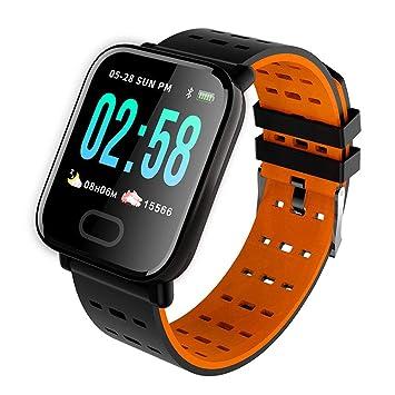 WShijie Fitness Tracker Pulsera Inteligente Monitor de Ritmo cardíaco Bluetooth Podómetro Reloj Deportivo electrónico,Orange: Amazon.es: Deportes y aire ...