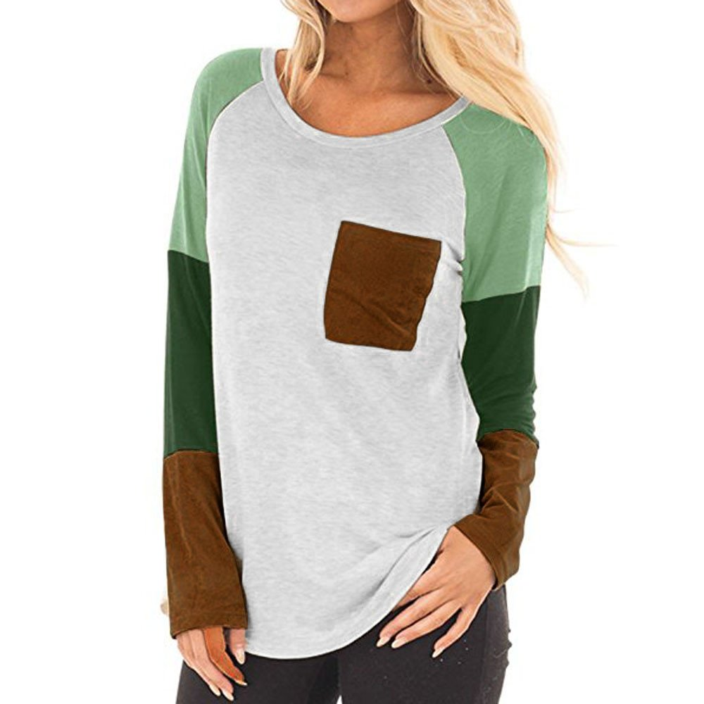 Molyveva Ladies New Pocket Patchwork T-Shirt Women Casual Long Sleeve Top Blouse