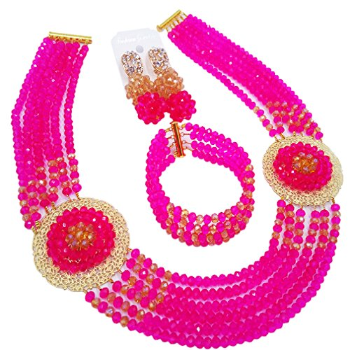 aczuv Nigerian Beads Jewelry Set African Necklaces for Women Crystal Bridal Wedding Jewelry Sets (Hot Pink Champagne Gold (Hot Pink Crystal)
