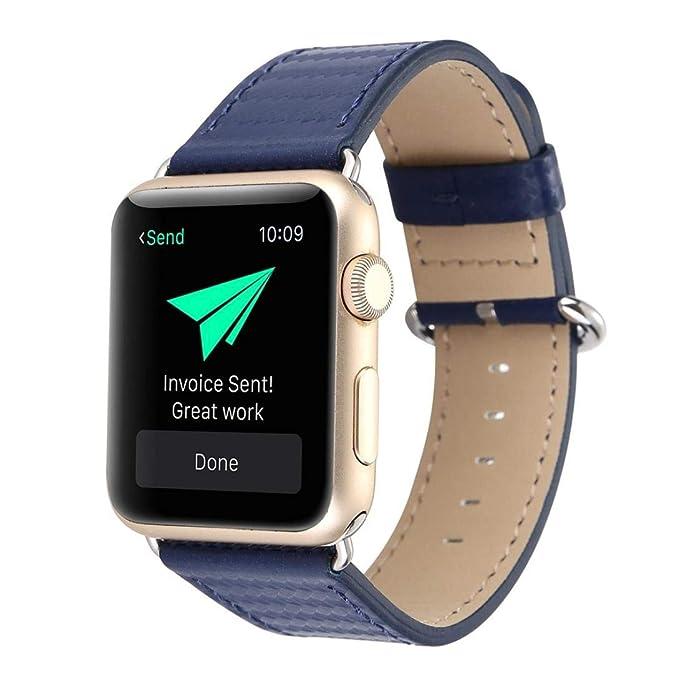 JiaMeng Banda de Reloj del reemplazo de la Correa de Cuero de la Fibra de Carbono para el Reloj 42m m de Apple(Azul Oscuro,42MM): Amazon.es: Ropa y ...