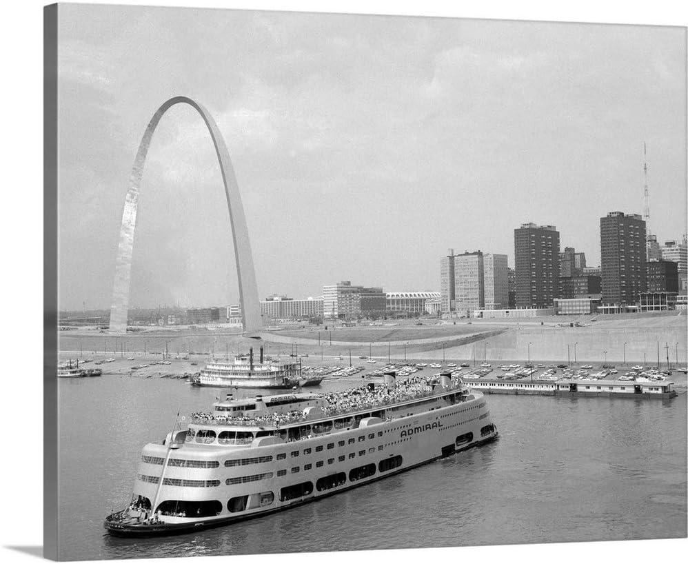 GREATBIGCANVAS 1960's St. Louis Missouri Gateway Arch Skyline Mississippi River Ss Admiral Casino Canvas Wall