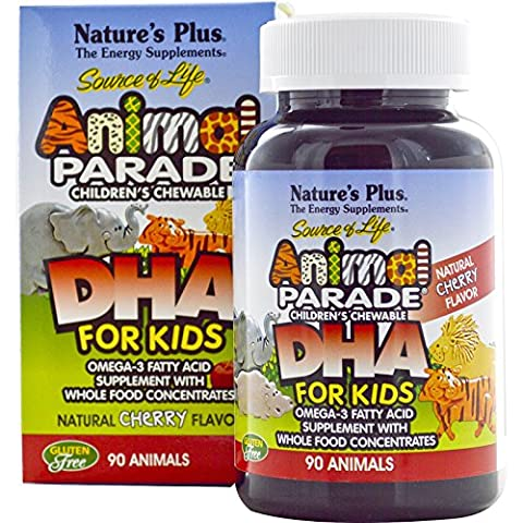 Nature's Plus, Source of Life, DHA for Kids, Animal Parade, Children's Chewable, Natural Cherry Flavor, 90 Animals - - Animal Parade Dha Cherry