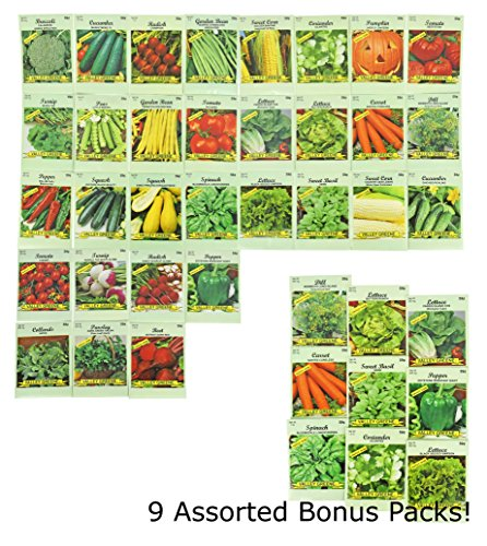 Set of 40 Heirloom Vegetable Seeds 100% Non-GMO - 31 Different Types of Seeds Guaranteed! Includes 9 Assorted Bonus Seeds! ()