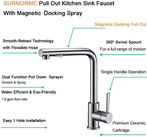 SURNORME Pull Out Kitchen Sink Faucet, Single Handle Kitchen Sink Faucet Hot Cold Mixer Tap with Magnetic Docking Spray Head for Home, Stainless Steel Finish