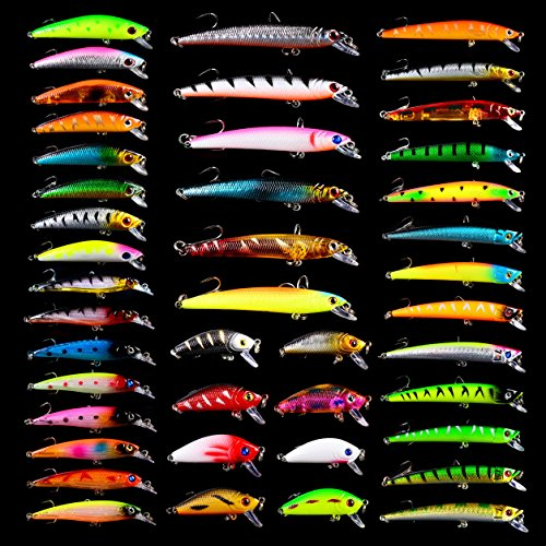 Fishing Lures Tackle Kits Hard Baits Minnow Pencil VIB Crankbaits Topwater Floating Lures Assorted Fishing Tackle Sets (007-43pcs)