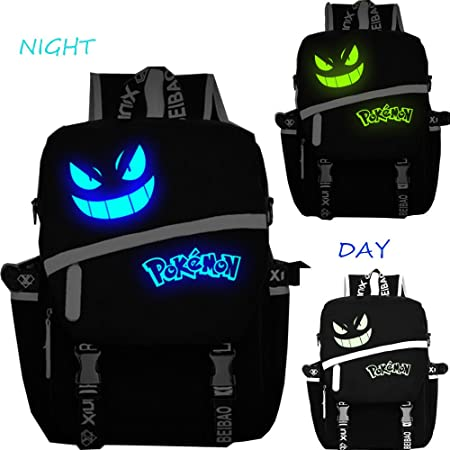 Pokemon Go luminoso mochila deportes al aire libre mochila estudiantes lienzo mochila mochila para el hombro Fashion Cartoon Cute, azul, medium: Amazon.es: ...