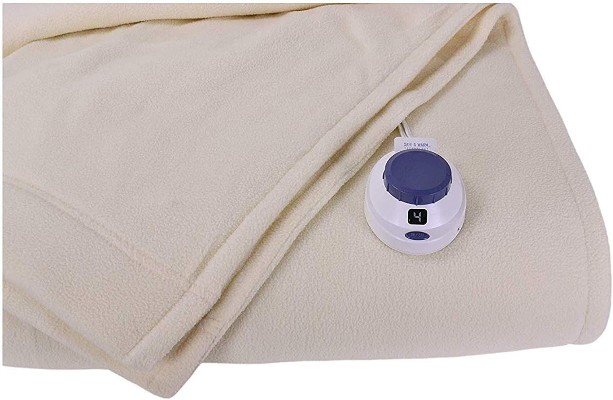 SoftHeat by Perfect Fit | Luxury Micro-Fleece Low-Voltage Electric Heated Blanket (Twin, Natural)