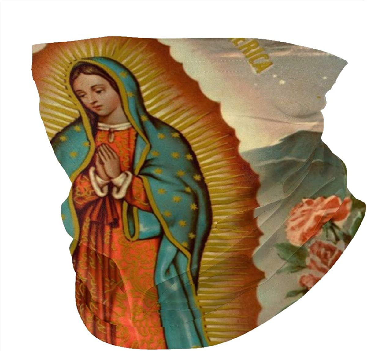 Seamless Quick Dry Breathable Outdoor UV Protection Our Lady of Guadalupe Virgin Mary Head Wrap Face Scarf Neck Gaiter Bandana Balaclava Black
