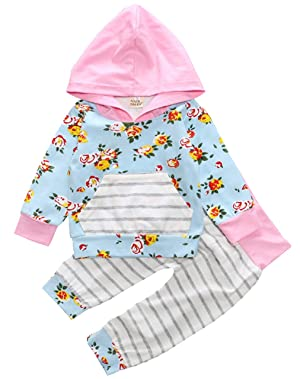 Baby Girl 2pcs Set Outfit Flower Print Hooded T-shirt Top+Striped Long Pants